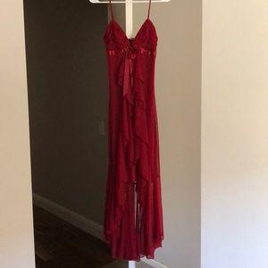 Xoxo burgundy red high low dress